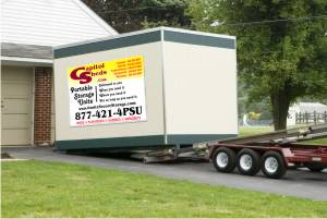 Portable Storage Unit in Driveway & Portable Storage Rental Units from Capitol Sheds - Onsite Secure Storage